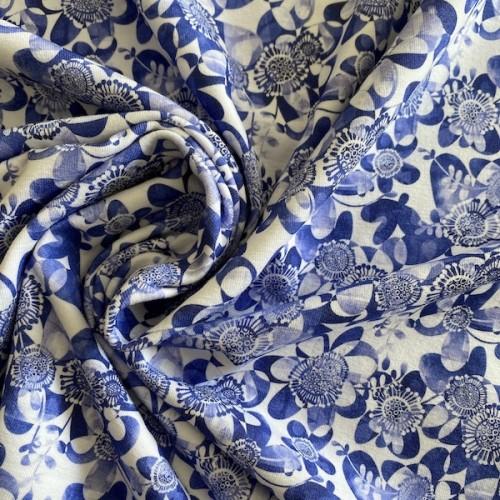 Bio Stretch-Jersey blaue Blumen
