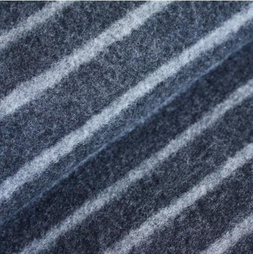 Bio Merino-Wollfleece - dunkelgrau gestreift