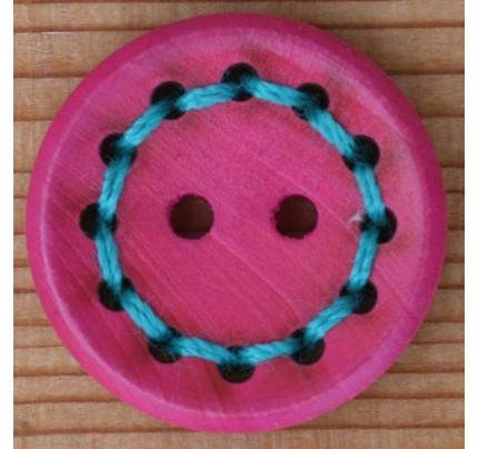 Holz-Knopf mit Garn pink - 20 mm