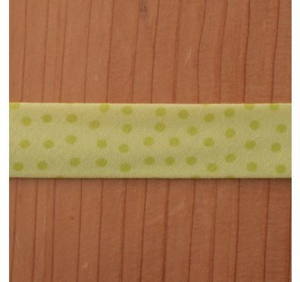 Bio-Baumwoll-Schrägband Minidots limonengelb